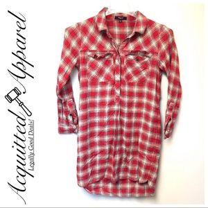 Madewell | Plaid Flannel Shirt Dress Button Up